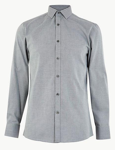 Skinny Fit Collar Bug Print Shirt