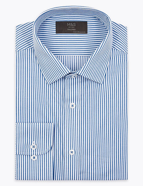 Tailored Fit Striped Easy Iron Shirt