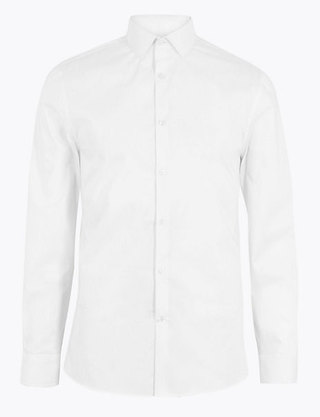 Skinny Fit Easy Iron Stretch Shirt