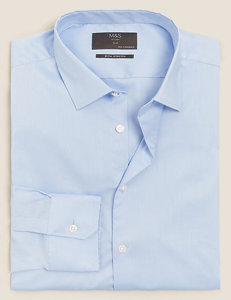 Slim Fit Cotton Rich Shirt with Stretch