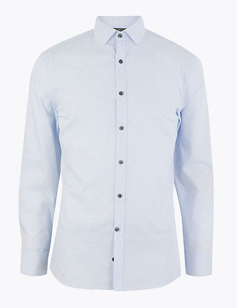 Skinny Fit Printed Easy Iron Shirt