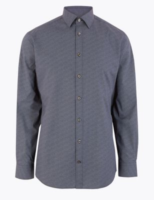 Tailored Fit Easy Iron Printed Shirt