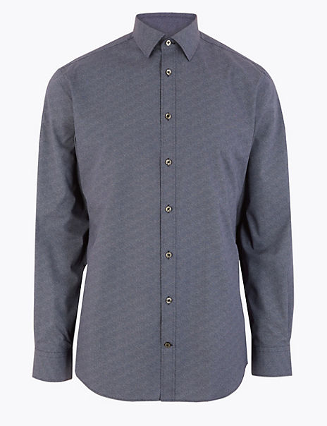 Tailored Fit Printed Easy Iron Shirt
