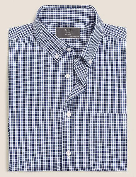 Regular Fit Gingham Cotton Easy Iron Shirt