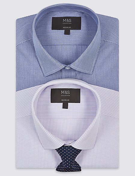 2 Pack Regular Fit Shirts with Tie