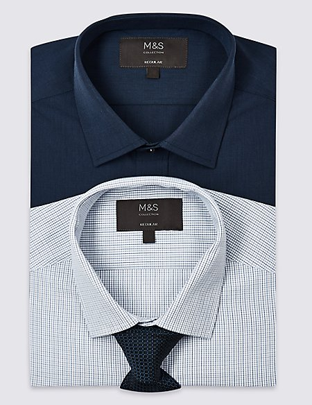2 Pack Cotton Blend Regular Fit Shirts with Tie