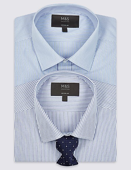 2 Pack Cotton Blend Regular Fit Shirt with Tie