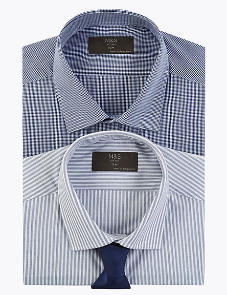 2 Pack Slim Fit Gingham Easy Iron Shirts with Tie