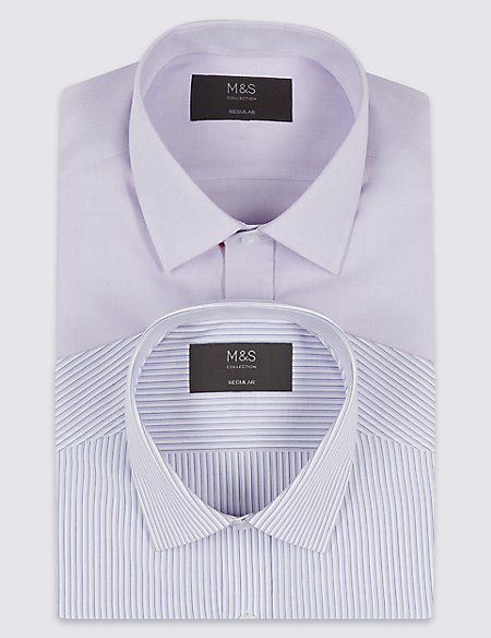 2 Pack Cotton Blend Regular Fit Shirts