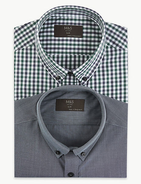 2 Pack Cotton Blend Slim Fit Shirts