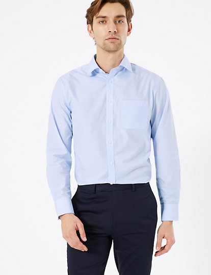 Long Sleeve Generous Cut Shirts Twin Pack Blue or white