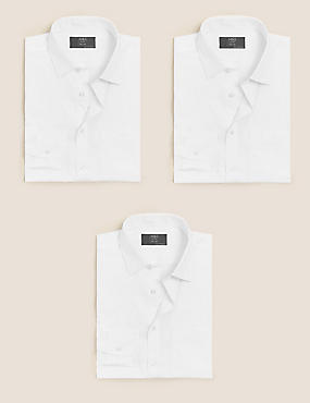 3 Pack Cotton Blend Tailored Fit Shirts