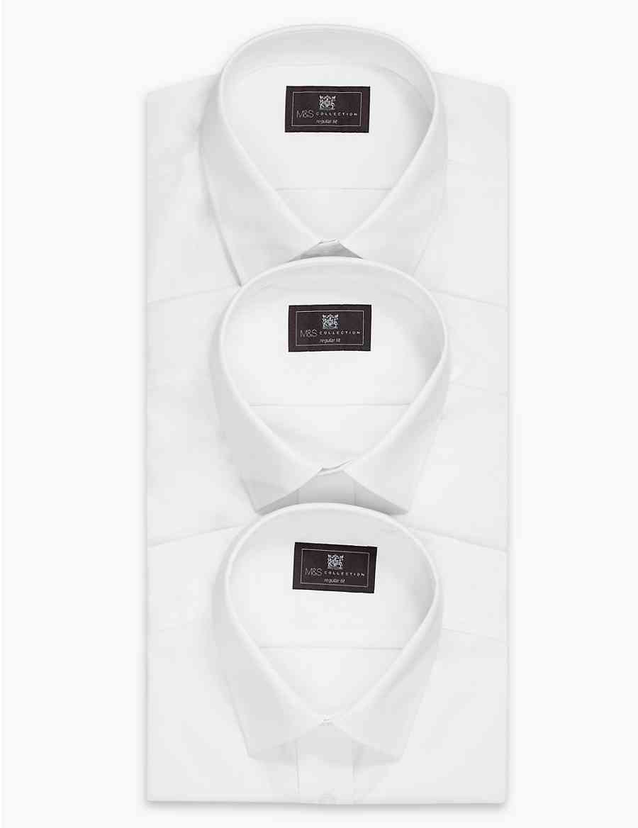 3 Pack Cotton Blend Regular Fit Shirts Ms Collection Ms