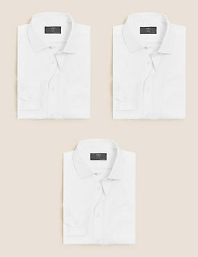 3 Pack Cotton Blend Modern Slim Fit Shirts