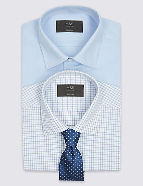 2 Pack Easy to Iron Regular Shirts with Tie