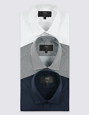 3 Pack Cotton Blend Slim Fit Shirts