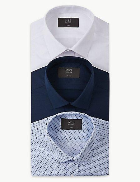 3 Pack Cotton Blend Slim Fit Shirts