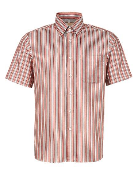 Pure Cotton Striped Short Sleeve Shirt