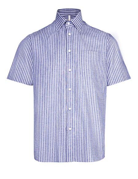 Short Sleeve Striped Shirt with Linen