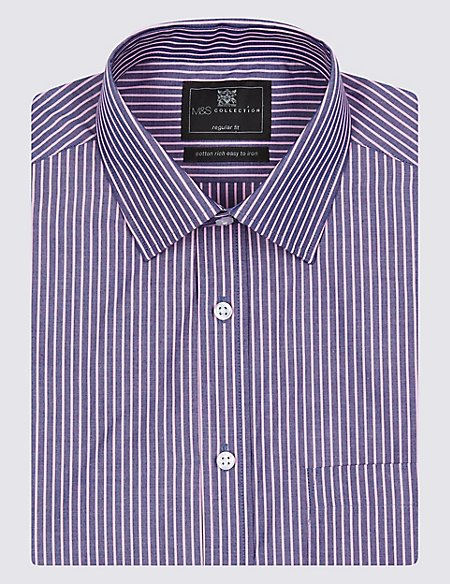 Cotton Rich Easy to Iron Short Sleeve Striped Shirt