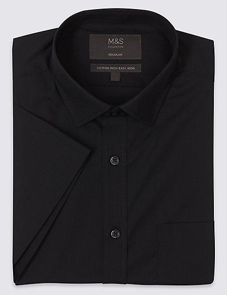 Cotton Rich Short Sleeve Regular Fit Shirt
