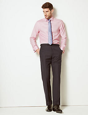Pure Cotton Slim Fit Shirt, PINK SORBET, catlanding