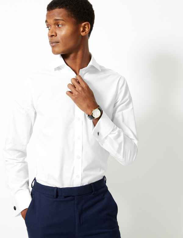 d9b3078aa764 Pure Cotton Slim Fit Shirt. Big   tall sizes available. M S Collection  Luxury
