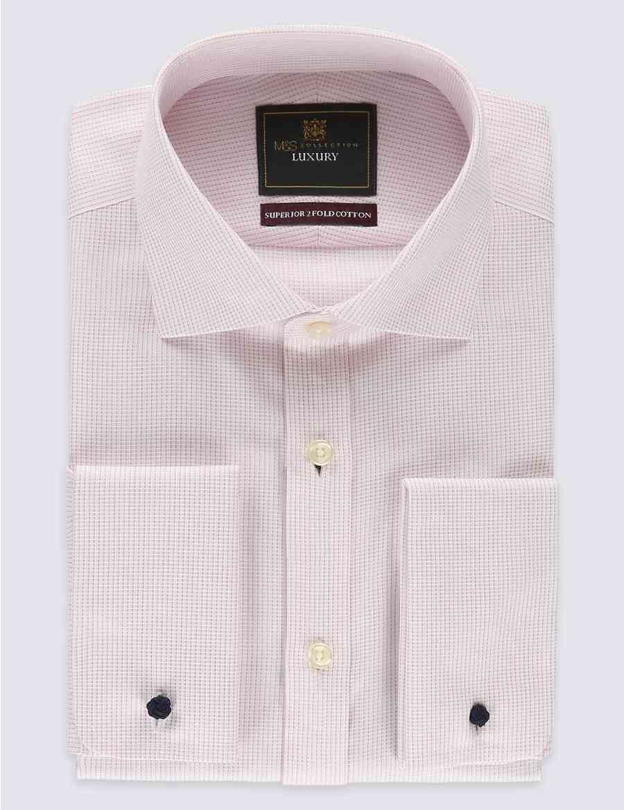 Pure Cotton Non Iron Tailored Fit Shirt Ms Collection Luxury Ms