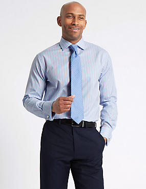 Pure Cotton Tailored Fit Shirt, LIGHT BLUE MIX, catlanding
