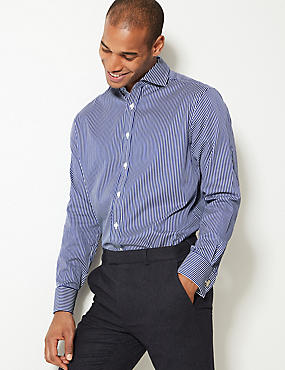 Pure Cotton Easy to Iron Regular Fit Shirt , BLUE, catlanding