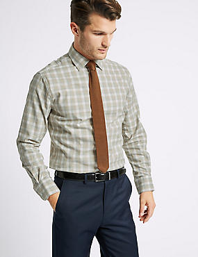 Cotton Rich Tailored Fit Shirt , MULTI/NEUTRAL, catlanding