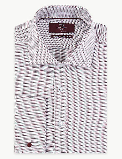 Slim Fit Textured Easy to Iron Shirt