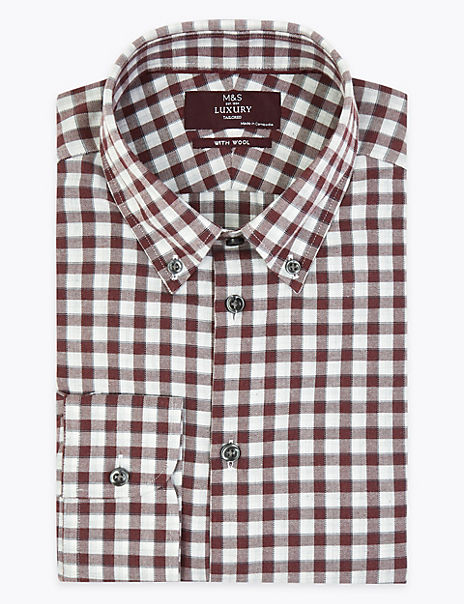 Brushed Cotton Tailored Fit Shirt with Wool