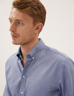 Image of Mens M&S Collection Luxury Tailored Fit Pure Cotton Luxury Shirt - Navy Mix, Navy Mix