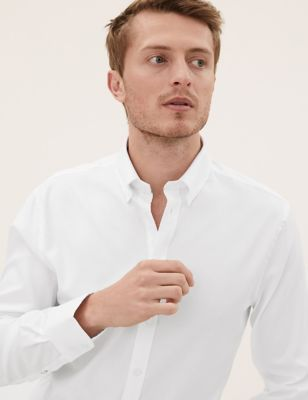 Image of Mens M&S Collection Luxury Tailored Fit Pure Cotton Luxury Shirt - White, White
