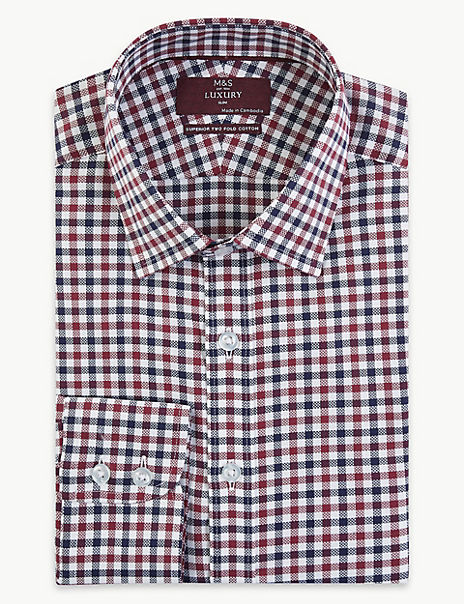 Pure Cotton Checked Slim Fit Oxford Shirt