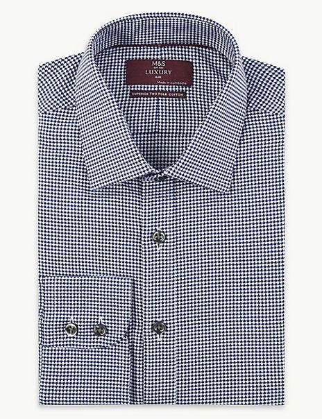 Shorter Length Slim Fit Chevron Print Shirt