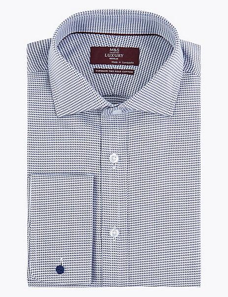 Cotton Wave Stitch Easy to Iron Shirt