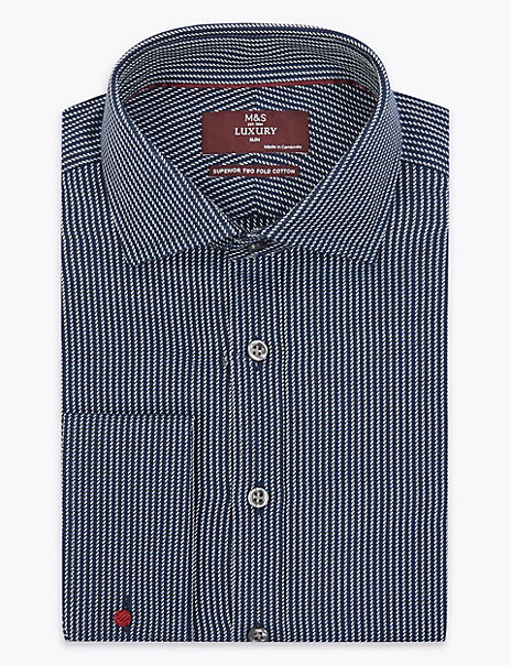 Slim Fit Twill Striped Easy to Iron Shirt