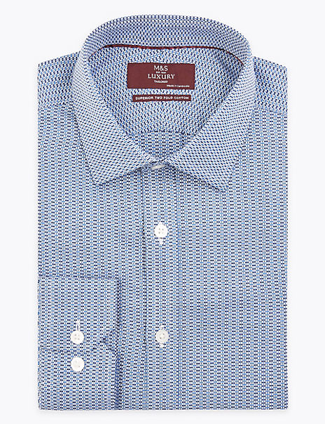 Pure Cotton Tailored Fit Brick Print Shirt