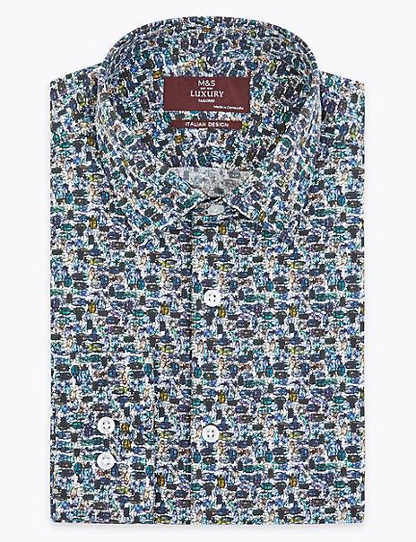 Tailored Fit Italian Design Beetle Print Shirt
