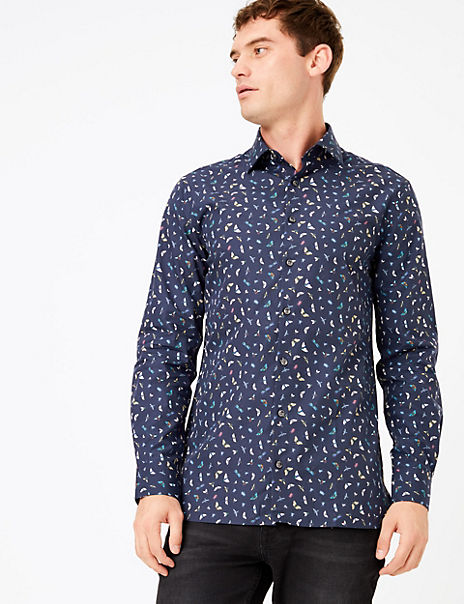 Tailored Fit Butterfly Print Easy Iron Shirt