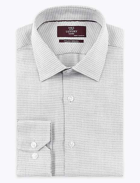 Tailored Fit Italian Design Square Print Shirt