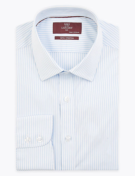 Slim Fit Striped Stretch Shirt