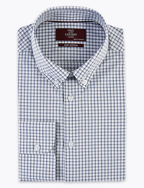 Tailored Fit Pure Cotton Checked Shirt