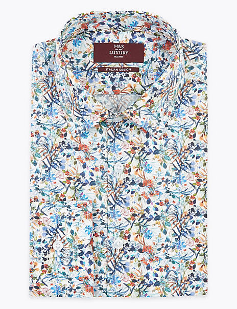 Pure Cotton Printed Tailored Fit Shirt