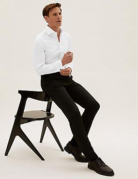 Camisa ajustada elástica de algodón de sarga