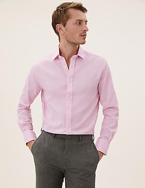 Pure Cotton Easy to Iron Tailored Fit Shirt, PINK, catlanding