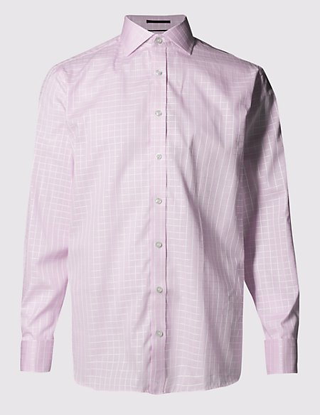Pure Cotton Slim Fit Satin Checked Shirt
