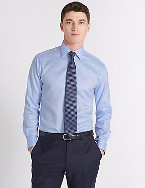 Pure Cotton Easy to Iron Tailored Fit Shirt, SKY, catlanding